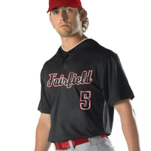 Youth Two Button Mesh Baseball Jersey With Piping Thumbnail